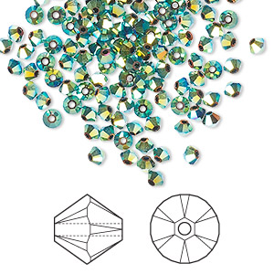 bead, swarovski crystals, jet ab2x, 3mm xilion bicone (5328). sold per pkg of 1,440 (10 gross).