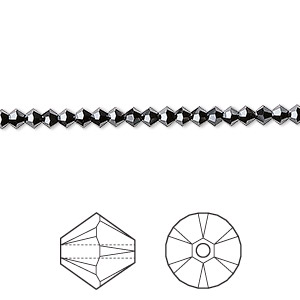 bead, swarovski crystals, jet hematite 2x, 3mm xilion bicone (5328). sold per pkg of 1,440 (10 gross).