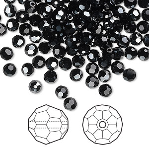 bead, swarovski crystals, jet hematite, 4mm faceted round (5000). sold per pkg of 720 (5 gross).