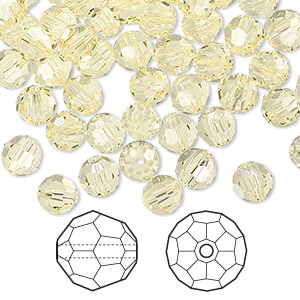 bead, swarovski crystals, jonquil, 6mm faceted round (5000). sold per pkg of 360.