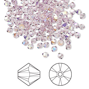 bead, swarovski crystals, light amethyst ab, 3mm xilion bicone (5328). sold per pkg of 1,440 (10 gross).