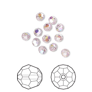 bead, swarovski crystals, light amethyst ab, 4mm faceted round (5000). sold per pkg of 12.