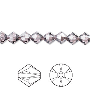 bead, swarovski crystals, light amethyst satin, 6mm xilion bicone (5328). sold per pkg of 360.