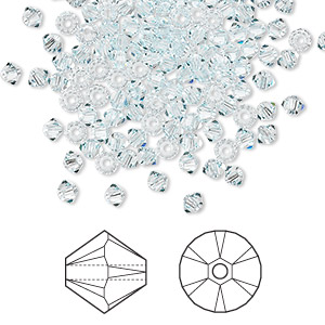 bead, swarovski crystals, light azore, 3mm xilion bicone (5328). sold per pkg of 144 (1 gross).
