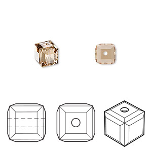 bead, swarovski crystals, light colorado topaz, 6x6mm faceted cube (5601). sold per pkg of 144 (1 gross).