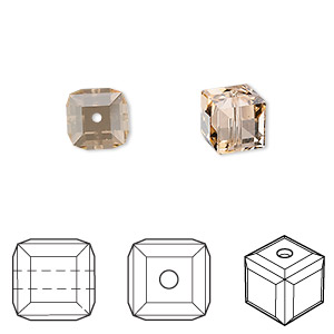 bead, swarovski crystals, light peach, 8x8mm faceted cube (5601). sold per pkg of 48.