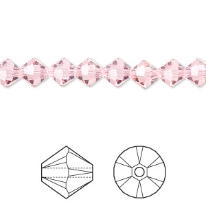 bead, swarovski crystals, light rose, 6mm xilion bicone (5328). sold per pkg of 144 (1 gross).