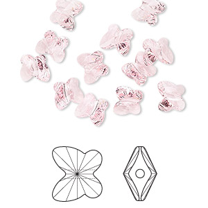bead, swarovski crystals, light rose, 6x5mm faceted butterfly (5754). sold per pkg of 360.