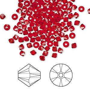 bead, swarovski crystals, light siam, 3mm xilion bicone (5328). sold per pkg of 1,440 (10 gross).