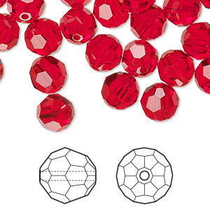 bead, swarovski crystals, light siam, 8mm faceted round (5000). sold per pkg of 288 (2 gross).