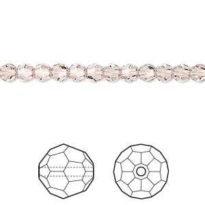 bead, swarovski crystals, light silk, 4mm faceted round (5000). sold per pkg of 720 (5 gross).