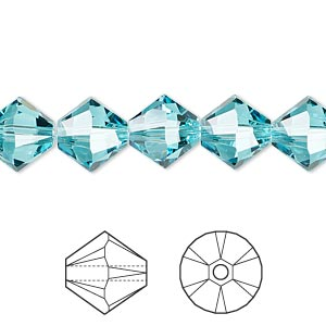 bead, swarovski crystals, light turquoise, 10mm xilion bicone (5328). sold per pkg of 144 (1 gross).