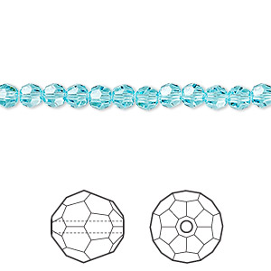 bead, swarovski crystals, light turquoise, 4mm faceted round (5000). sold per pkg of 720 (5 gross).