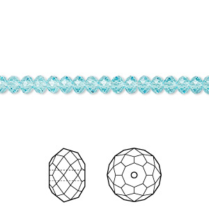 bead, swarovski crystals, light turquoise, 4x3mm faceted rondelle (5040). sold per pkg of 720 (5 gross).