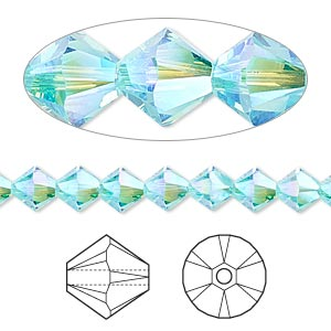 bead, swarovski crystals, light turquoise ab2x, 6mm xilion bicone (5328). sold per pkg of 360.