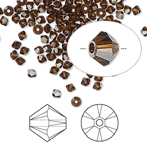 bead, swarovski crystals, mocca, 3mm xilion bicone (5328). sold per pkg of 1,440 (10 gross).