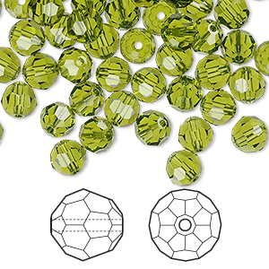 bead, swarovski crystals, olivine, 6mm faceted round (5000). sold per pkg of 360.