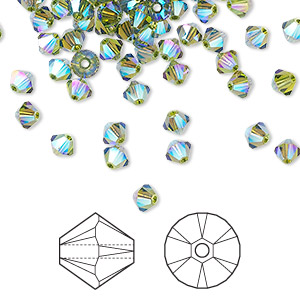bead, swarovski crystals, olivine ab2x, 4mm xilion bicone (5328). sold per pkg of 1,440 (10 gross).