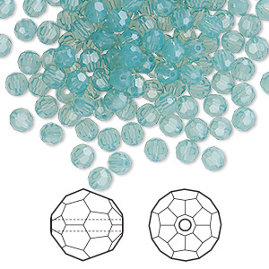bead, swarovski crystals, pacific opal, 4mm faceted round (5000). sold per pkg of 720 (5 gross).