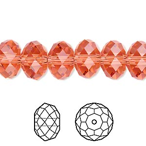 bead, swarovski crystals, padparadscha, 12x8mm faceted rondelle (5040). sold per pkg of 144 (1 gross).