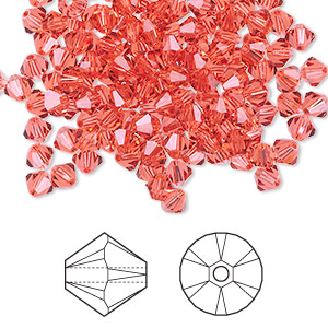 bead, swarovski crystals, padparadscha, 4mm xilion bicone (5328). sold per pkg of 1,440 (10 gross).