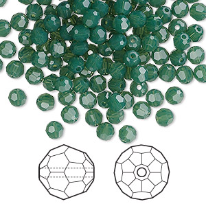 bead, swarovski crystals, palace green opal, 4mm faceted round (5000). sold per pkg of 720 (5 gross).