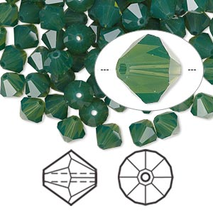 bead, swarovski crystals, palace green opal, 6mm faceted bicone (5301). sold per pkg of 360.