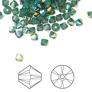 bead, swarovski crystals, palace green opal ab, 4mm xilion bicone (5328). sold per pkg of 48.