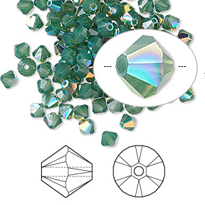 bead, swarovski crystals, palace green opal ab, 4mm xilion bicone (5328). sold per pkg of 144 (1 gross).