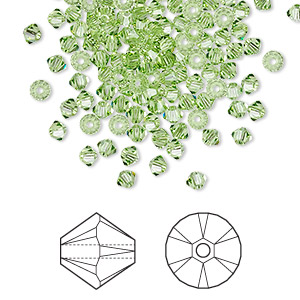 bead, swarovski crystals, peridot, 3mm xilion bicone (5328). sold per pkg of 144 (1 gross).