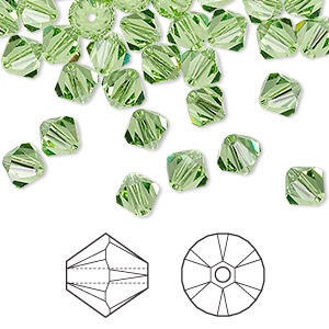 bead, swarovski crystals, peridot, 6mm xilion bicone (5328). sold per pkg of 360.