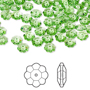 bead, swarovski crystals, peridot, 6x2mm faceted marguerite lochrose flower (3700). sold per pkg of 720 (5 gross).