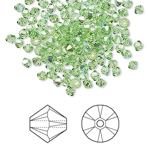 bead, swarovski crystals, peridot ab, 3mm xilion bicone (5328). sold per pkg of 48.