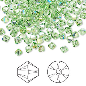 bead, swarovski crystals, peridot ab, 4mm xilion bicone (5328). sold per pkg of 144 (1 gross).
