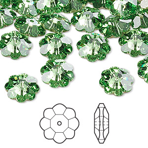 bead, swarovski crystals, peridot, foil back, 10x3.5mm faceted marguerite lochrose flower (3700). sold per pkg of 12.