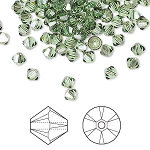 bead, swarovski crystals, peridot satin, 4mm xilion bicone (5328). sold per pkg of 1,440 (10 gross).