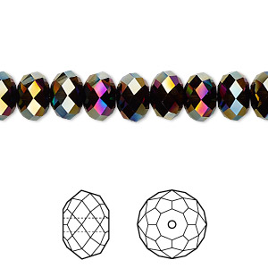 bead, swarovski crystals, rainbow dark 2x, 8x6mm faceted rondelle (5040). sold per pkg of 288 (2 gross).