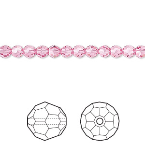 bead, swarovski crystals, rose, 4mm faceted round (5000). sold per pkg of 12.