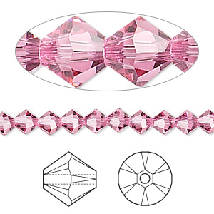 bead, swarovski crystals, rose, 5mm xilion bicone (5328). sold per pkg of 720 (5 gross).