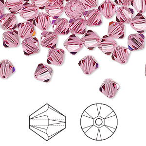 bead, swarovski crystals, rose, 6mm xilion bicone (5328). sold per pkg of 360.