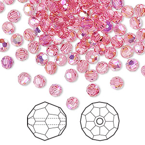 bead, swarovski crystals, rose ab, 4mm faceted round (5000). sold per pkg of 720 (5 gross).