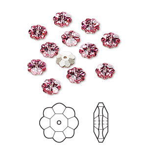 bead, swarovski crystals, rose, foil back, 6x2mm faceted marguerite lochrose flower (3700). sold per pkg of 12.