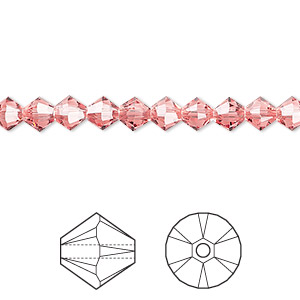 bead, swarovski crystals, rose peach, 5mm xilion bicone (5328). sold per pkg of 720 (5 gross).