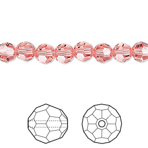 bead, swarovski crystals, rose peach, 6mm faceted round (5000). sold per pkg of 360.