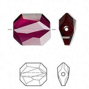 bead, swarovski crystals, ruby, 18x15mm faceted graphic (5520). sold per pkg of 24.
