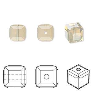 bead, swarovski crystals, sand opal, 8x8mm faceted cube (5601). sold per pkg of 48.