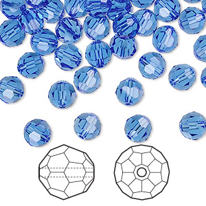 bead, swarovski crystals, sapphire, 6mm faceted round (5000). sold per pkg of 360.