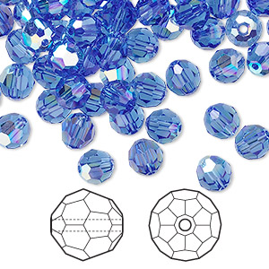 bead, swarovski crystals, sapphire ab, 6mm faceted round (5000). sold per pkg of 144 (1 gross).