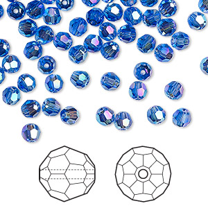 24pc Swarovski Crystal Light Sapphire 4mm Faceted Round 5000 Beads; Pastel Blue