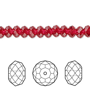 bead, swarovski crystals, scarlet, 6x4mm faceted rondelle (5040). sold per pkg of 360.
